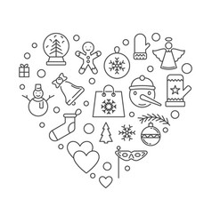 christmas icons in heart shape xmas vector image