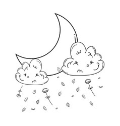 Cloud and moon cartoon in black and white vector
