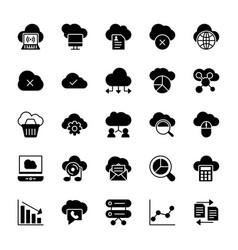 cloud computing solid icons 1 vector image