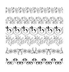 collection floral seamless border vector image