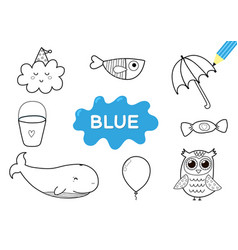 Color elements in blue coloring page for kids vector