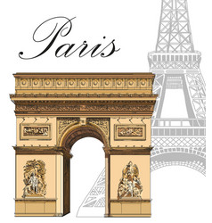colored triumphal arch with eiffel tower vector image