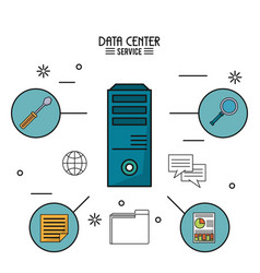 Colorful poster of data center service with tower vector
