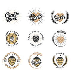 craft fresh beer emblem logo badge and label vector image