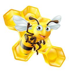 cute cartoon bee and honeycomb vector image