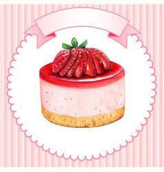 Cute watercolor mini strawberry cheesecake vector