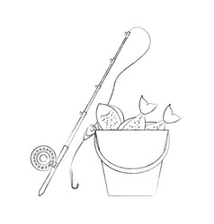 Fishing bucket with rod vector