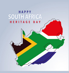 Flag and map south africa happy south africa vector