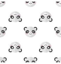 flat cartoon panda heads seamless pattern vector image