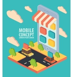 Flat isometric phone application concept vector