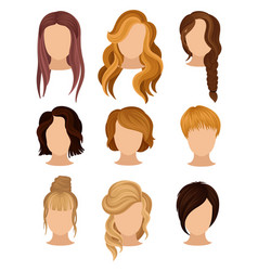 Flat set of women s heads with various vector