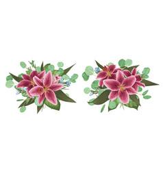 Floral bouquet design set of tender pink vector