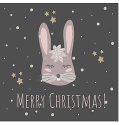 funny bunny retro stylemerry christmas vector image