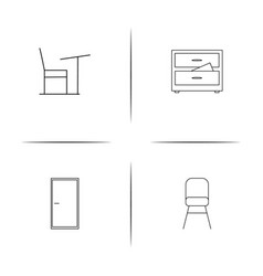furniture simple linear icon setsimple outline vector image