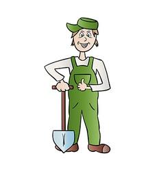Gardener man with spade vector
