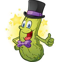 Gentleman pickle in a top hat and bow tie cartoon vector