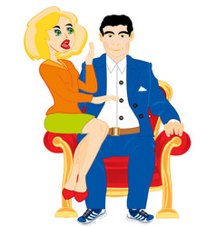 Girl and man on easy chair vector