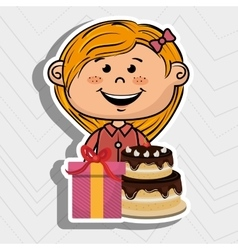 girl cake gift box vector image