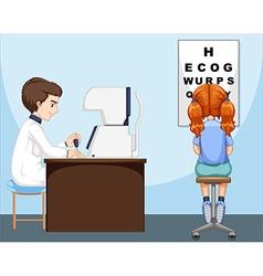 Girl having her eyes checked vector