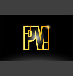 gold black alphabet letter pm p m logo vector image