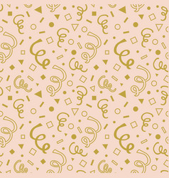golden cartoon curls and geometrical pattern vector image