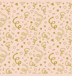 Golden cartoon curls and geometrical pattern vector