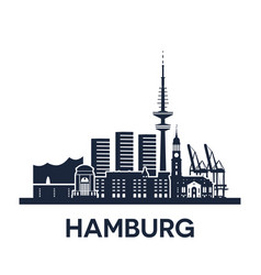 hamburg city skyline germany detailed version vector image
