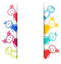 Hand-drawn Smiling Colorful Girls and Boys vector