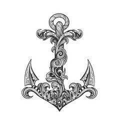 hand drawn vintage ship anchor tattoo vector image