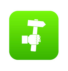 Hand hoding hammer with tool icon digital green vector