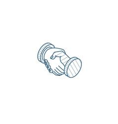 Handshake isometric icon 3d line art technical vector
