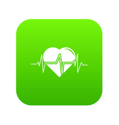 heart pulse icon green vector image