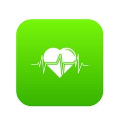 Heart pulse icon green vector
