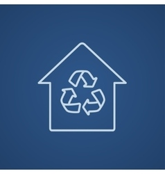 House with recycling symbol line icon vector image