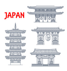 japanese buddhist temple pagoda and gate icons vector image