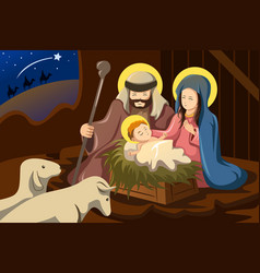 joseph mary and baby jesus vector image