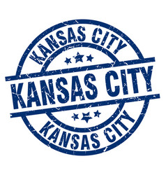 kansas city blue round grunge stamp vector image vector image