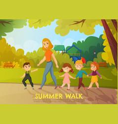 Kindergarten summer walk vector