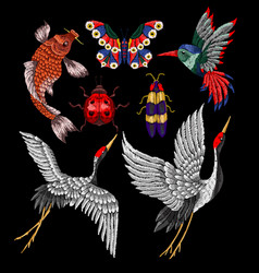 Ladybug butterfly hummingbird embroidery vector
