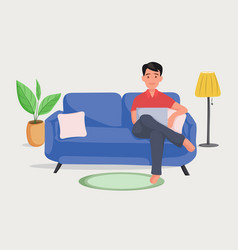 man on the sofa with laptop businessman work vector image