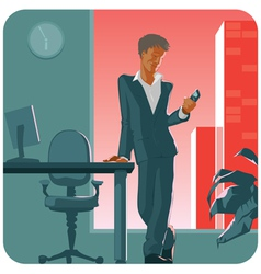 Man with phone vector