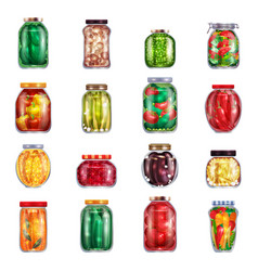 Marinated pickles jars collection vector