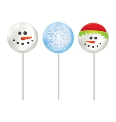 Marshmallow on a stick Snowman and Snowflake vector image