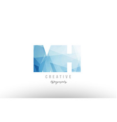 mh m h blue polygonal alphabet letter logo icon vector image
