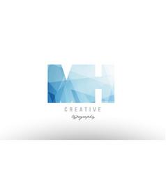 Mh m h blue polygonal alphabet letter logo icon vector