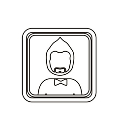 Monochrome contour square with half body man with vector