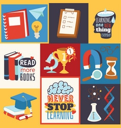 never stop learning concept read more books vector image