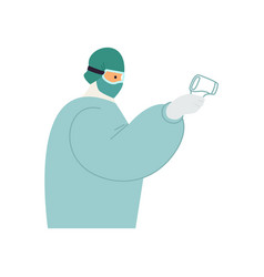 Nurse holding non-contact infrared thermometer vector