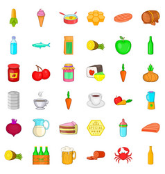 nutrition icons set cartoon style vector image