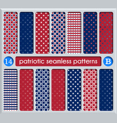 Patriotic set of white blue red seamless patterns vector